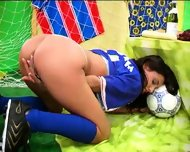 Football Girl playing  foot